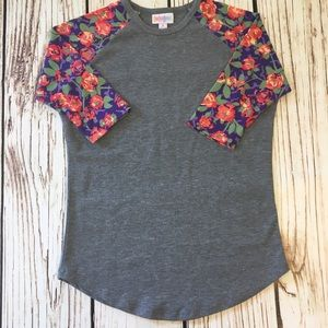 LuLaRoe Shirts & Tops - 🦄LLR flower Print 3/4 Sleeves Size 8 Girls purple